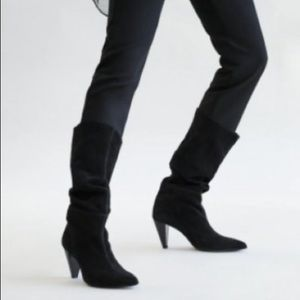NEW Zara Real Leather Suede Black Cone Heel Boots